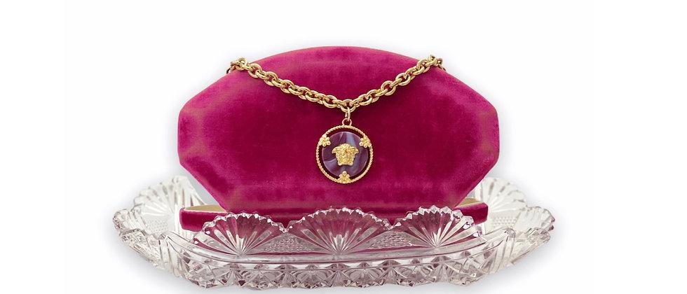 Repurposed Versace Large Agate Medusa Charm Choker Necklace