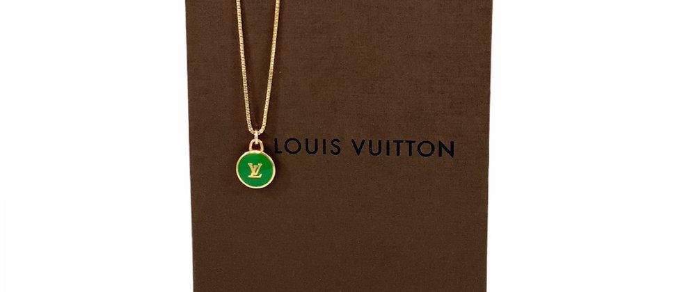 Repurposed Louis Vuitton Green & Gold LV Monogram Pastilles Charm Necklace