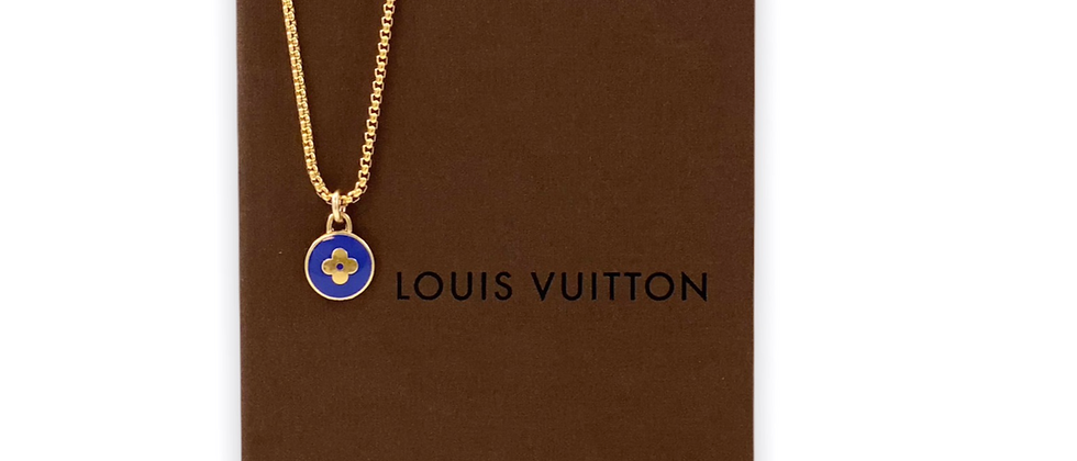 Repurposed Louis Vuitton Dark Blue & Gold Flower Pastilles Charm Necklace