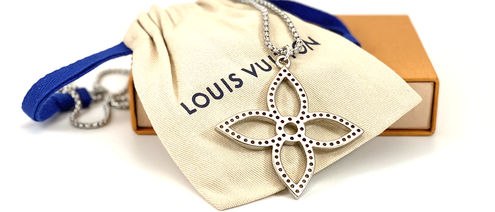 Repurposed Louis Vuitton Large Silver Flower Charm Dbl Wrap Choker Necklace