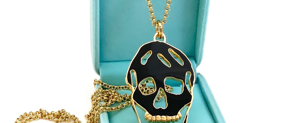 Repurposed Alexander McQueen RARE Cut Out Skull Double Wrap Necklace