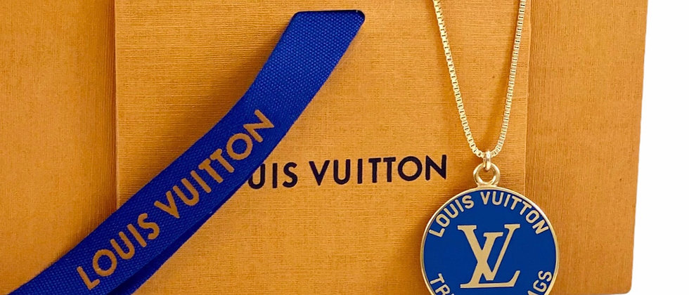 Repurposed Louis Vuitton Large Blue Enameled Very Rare Charm Necklace