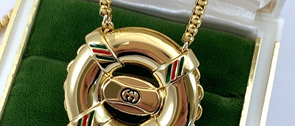 Repurposed Vintage 1980's Very Rare Gucci Life Ring Charm Necklace