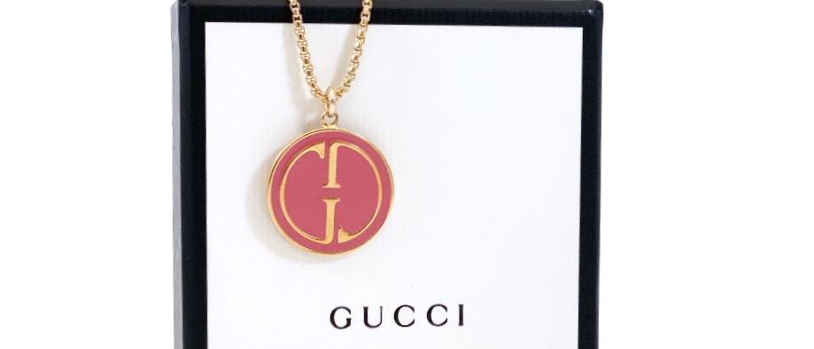 Repurposed Vintage 1990's Gucci Pink Enamel Charm Necklace