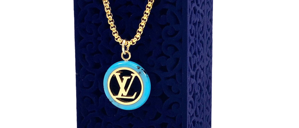 Repurposed Louis Vuitton Large Gold & Blue Lucite LV Monogram Necklace