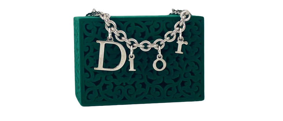 Repurposed Floating Dior Silver Letters Charm Choker Toggle Necklace