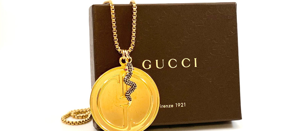 Repurposed Vintage 1990's XL Gucci Double Sided Charm Necklace w/Removable Snake