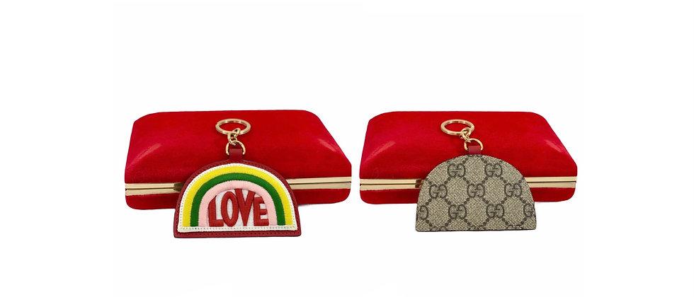 Repurposed Gucci Love Rainbow Supreme Keychain