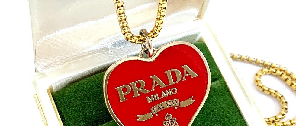 Repurposed HUGE Gold & Red Enameled Prada Heart Charm Necklace