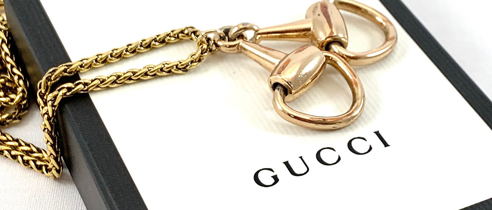 Repurposed Vintage Gucci 1970's Horsebit Pendant Necklace