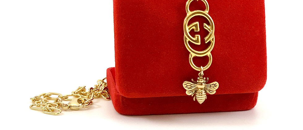 Repurposed Vintage Large Gucci GG & Bee Pendant Necklace