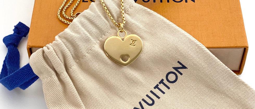 Repurposed Louis Vuitton Heart LV Monogram Necklace