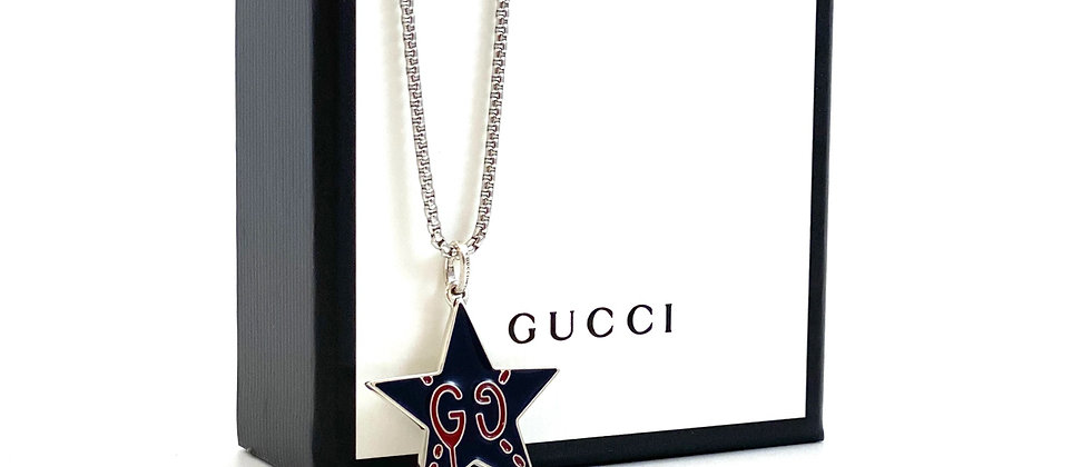 Repurposed Gucci Navy Blue & Red Double Sided Star Ghost Charm Necklace