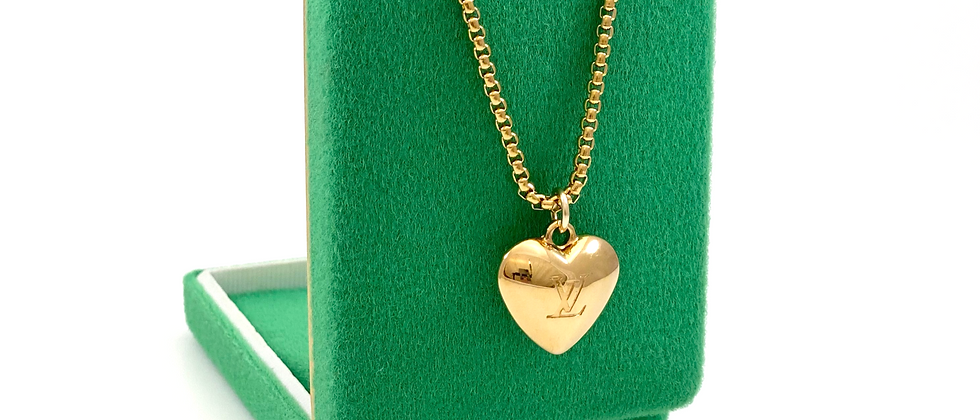 Repurposed Louis Vuitton Puffed Solid Heart Charm LV Monogram Necklace
