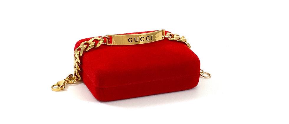 Repurposed Gucci Gold Bar Curb Link Bracelet
