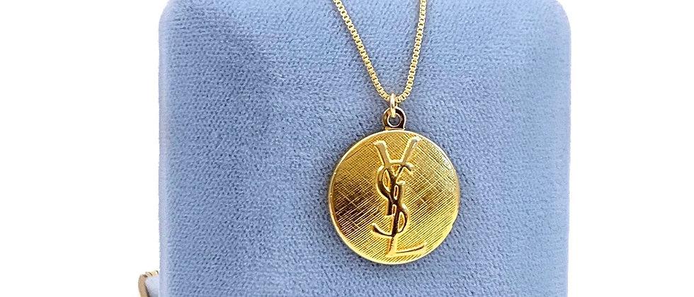 Vintage Repurposed YSL Large Gold Pendant Necklace