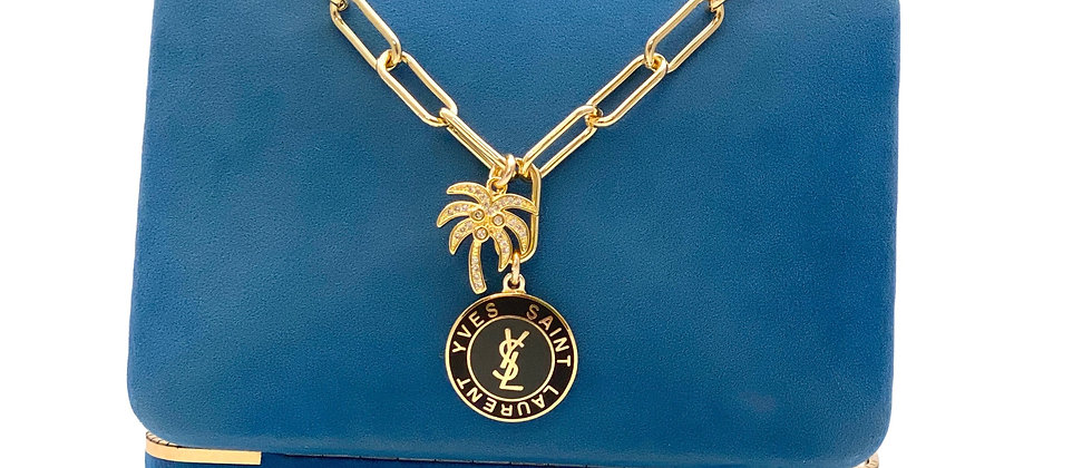 Repurposed YSL Large Black & Gold Paperclip Necklace with Palm Tree Charm