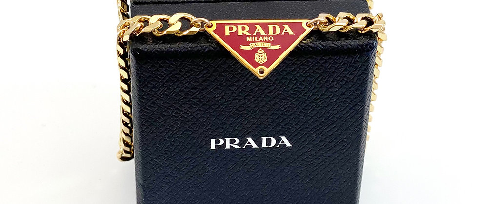 Repurposed Hot Pink & Gold Prada Triangle Tag Choker Necklace