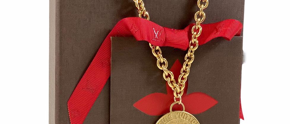 Repurposed Louis Vuitton XL Matte Gold Charm Choker Necklace