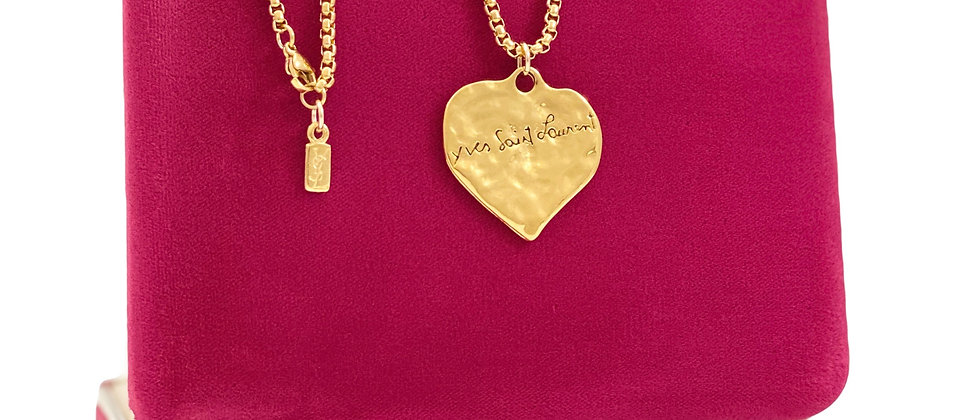 Repurposed Vintage YSL Robert Goossens RARE Love Hammered Heart Necklace
