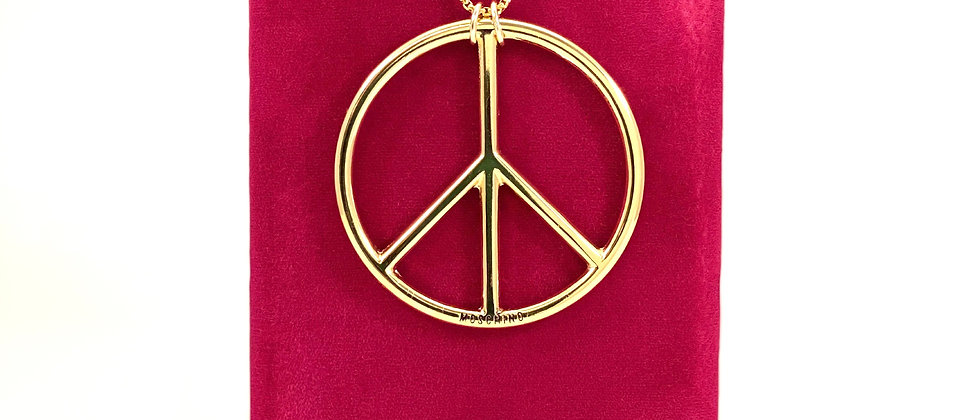 Repurposed HUGE Moschino Gold Peace Sign Necklace