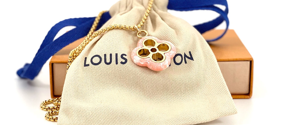 Repurposed Louis Vuitton Large Gold & Pink Lucite Flower Charm Necklace