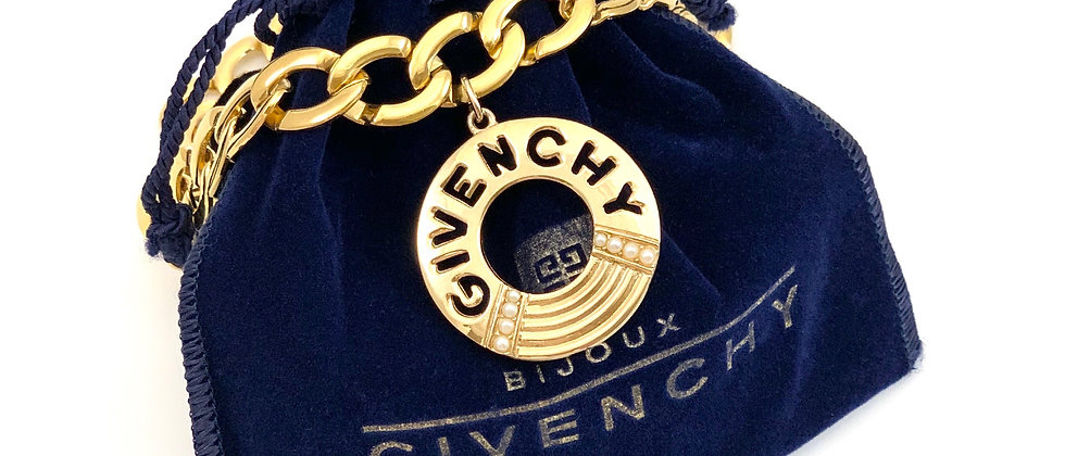 Vintage Repurposed HUGE Givenchy Gold Cut Out Medallion Choker Necklace