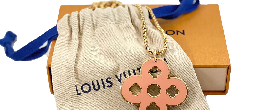 Repurposed Louis Vuitton XL Pink & Purple LV Signature Quatrefoil Charm Necklace