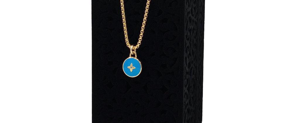 Repurposed Louis Vuitton Turquoise & Gold Flower Pastilles Charm Necklace