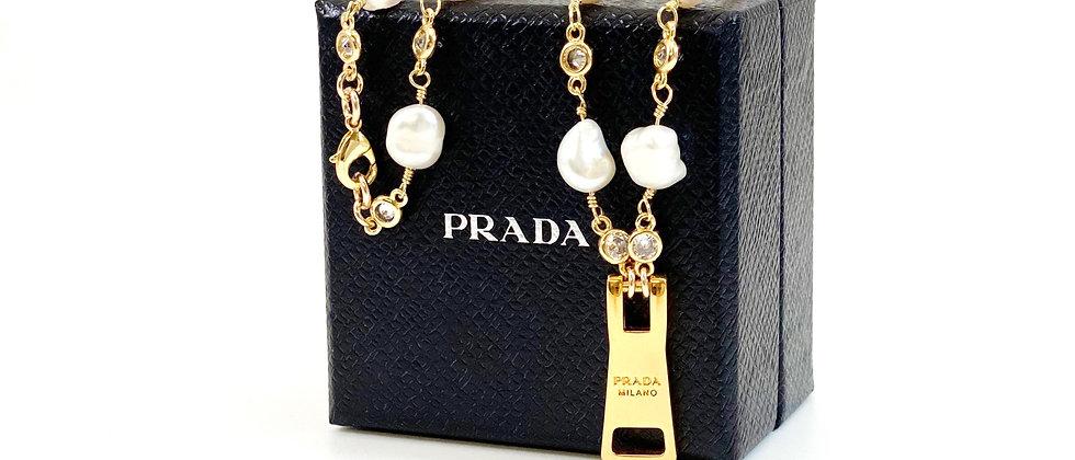 Repurposed Baroque Pearl & Gold Prada Zipper Pull Charm Necklace