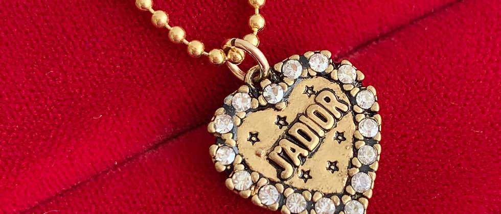 Repurposed Christian Dior J'ADIOR Double Sided Heart Charm Necklace