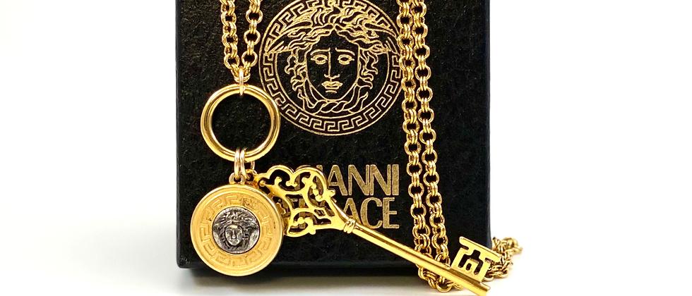 Vintage Repurposed Versace Silver & Gold Medusa & Key Dbl Wrap Choker Necklace