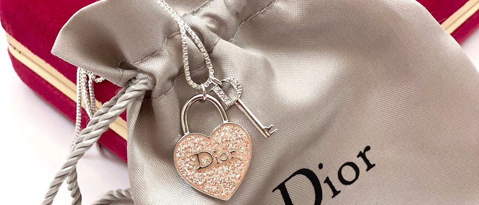 Repurposed Dior Sterling Silver & Pink Glitter Heart & Key Charm Necklace