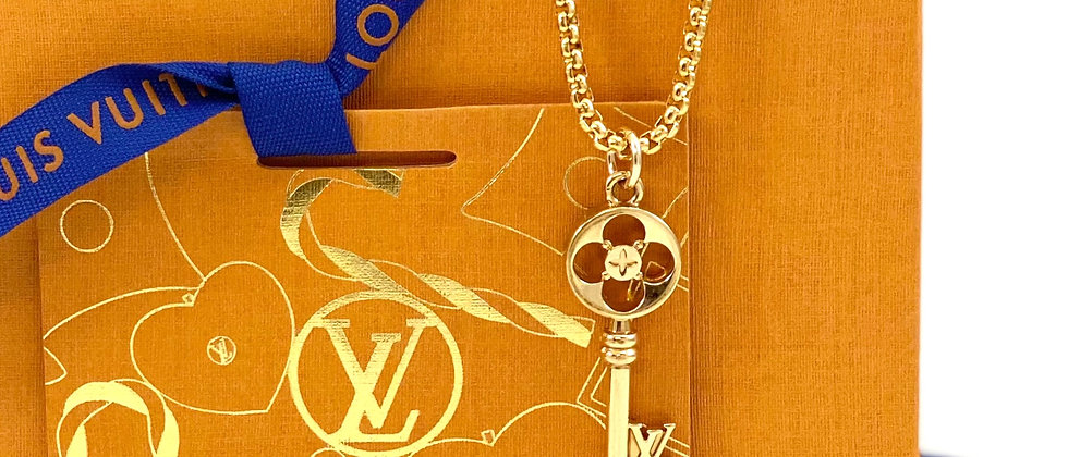 Repurposed Louis Vuitton Large Gold LV Monogram Key Charm Necklace