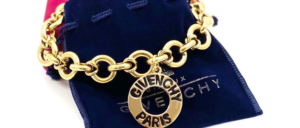 Vintage Repurposed 1980's HUGE Givenchy Paris Medallion Chunky Choker Necklace