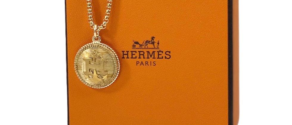 "Repurposed Vintage Hermès Large Antiqued Gold ""H"" Anchor Large Charm Necklace"