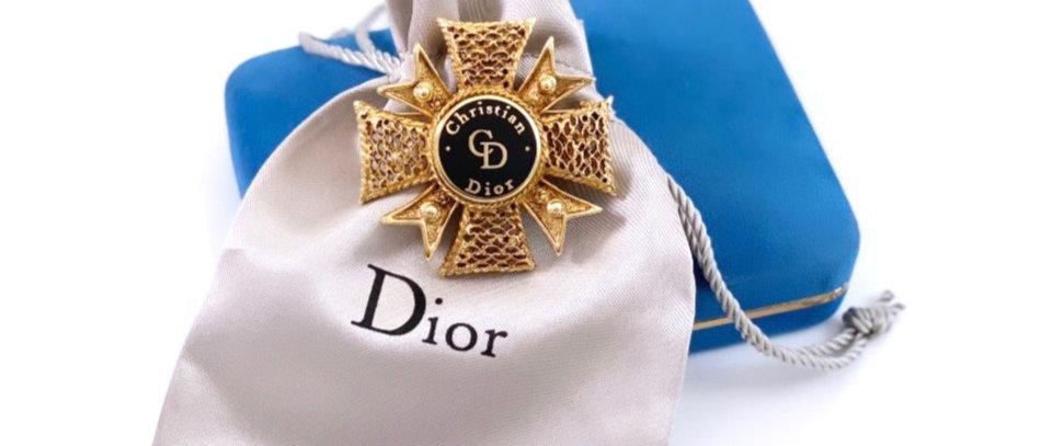 Vintage Repurposed Gold Dior Accent Maltese Cross Statement Brooch Pin