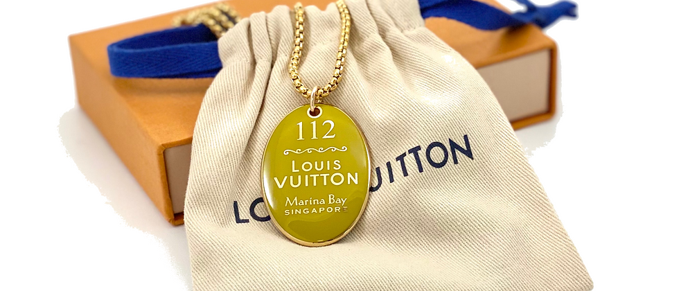Repurposed Louis Vuitton XL Very Rare Limited Edition Yellow Singapore Necklace