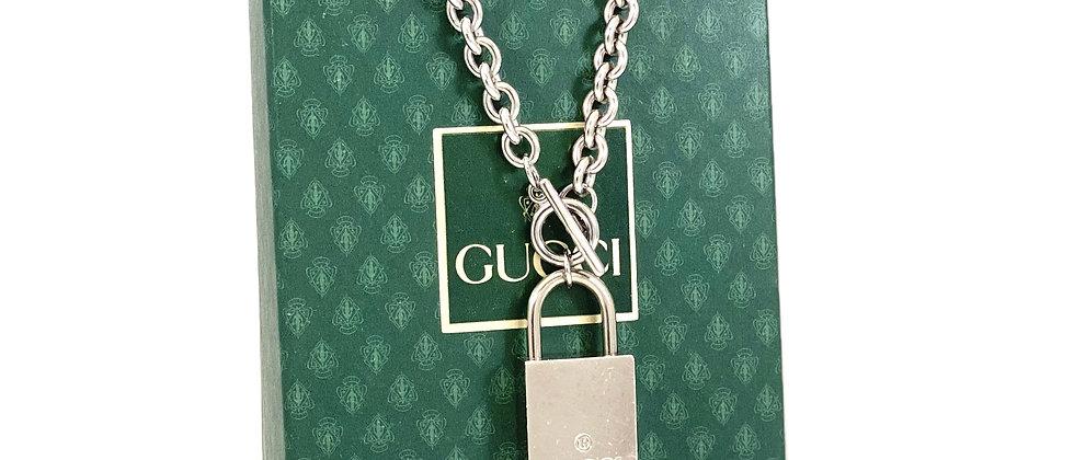 Repurposed Vintage Silver Gucci Lock Toggle Choker Necklace