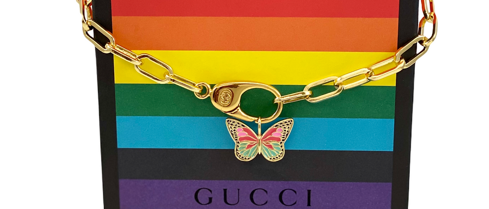 Repurposed Vintage Gucci Clip Choker Necklace w/Removable Butterfly Charm