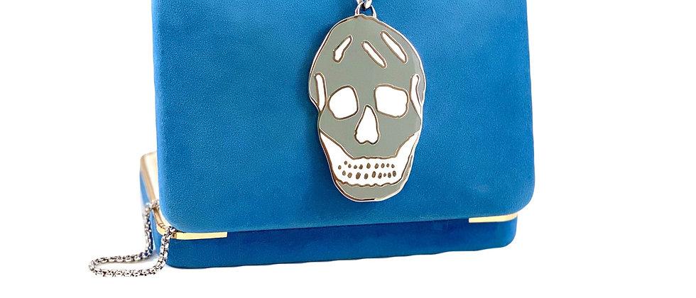 Repurposed Alexander McQueen Silver & Grey Enamel Skull Necklace