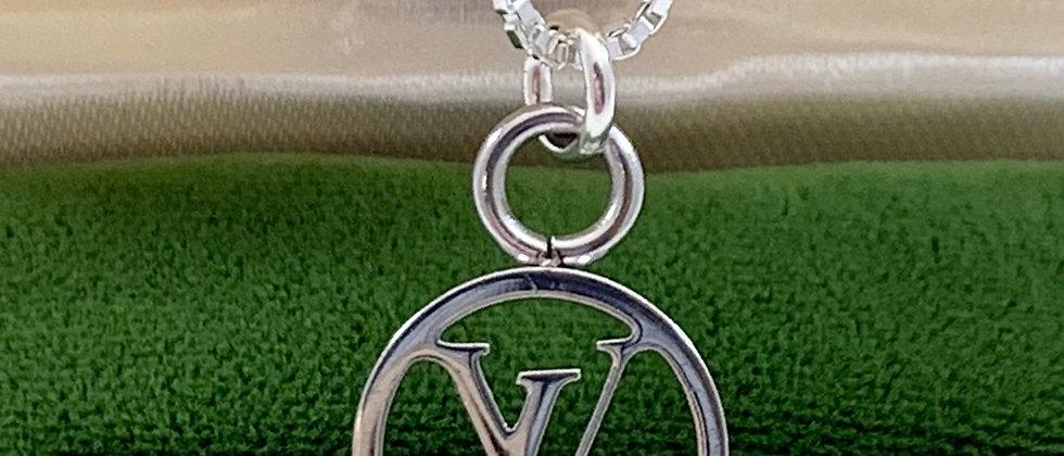 Repurposed Louis Vuitton Small Silver LV Monogram Charm Necklace