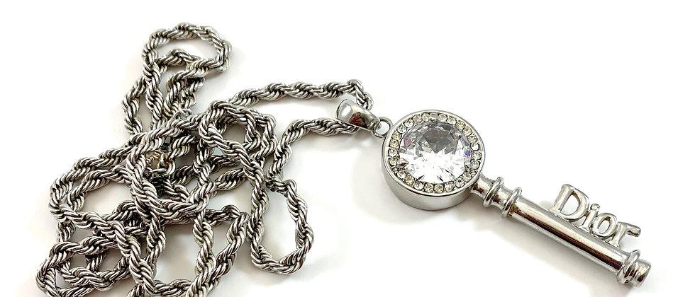 Vintage Repurposed Christian Dior Huge Silver Rhinestone Key Dbl Wrap Necklace
