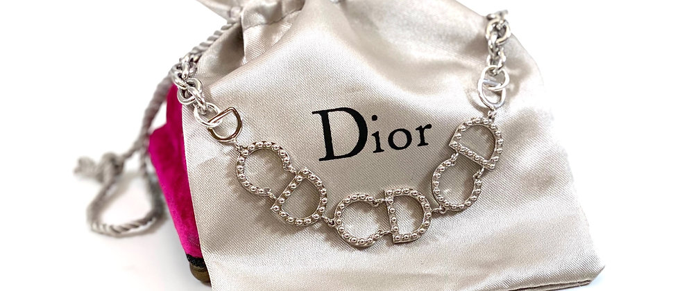 Repurposed Christian Dior Silver CD Link Choker Necklace