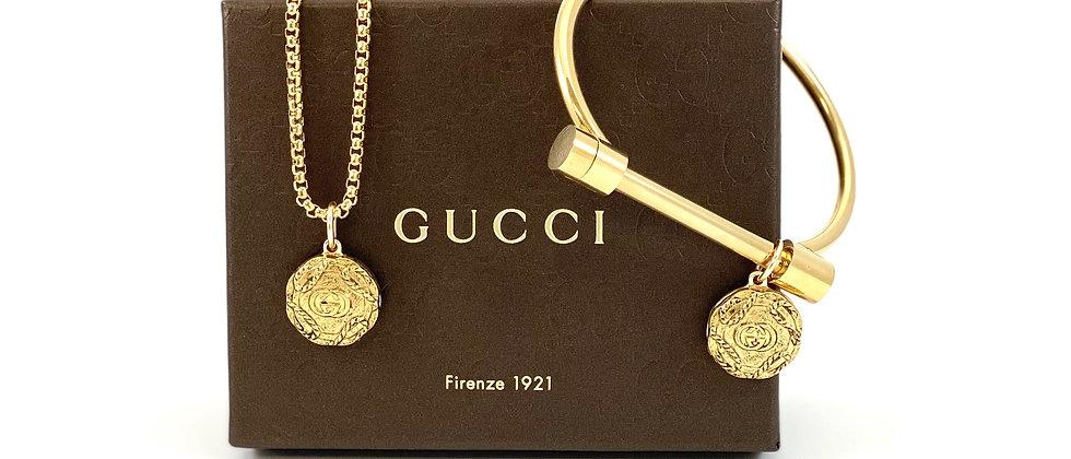 Repurposed Vintage Gucci Charm 2 in 1 Bolt Bracelet & Necklace