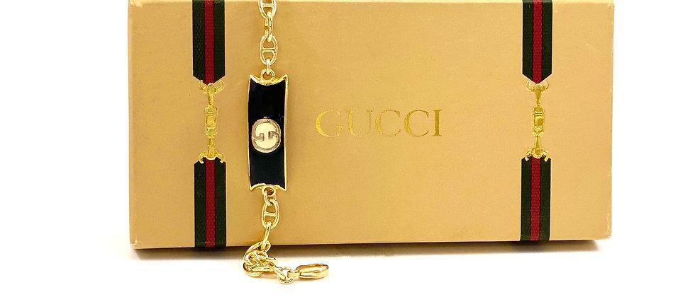 Vintage 1970's Repurposed Black Enameled Gucci Plate Bracelet