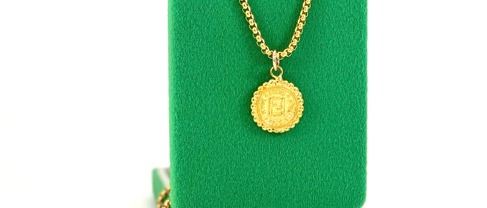 Repurposed Vintage Fendi Double Sided Janus Coin Charm Necklace