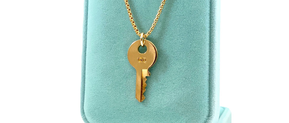 Vintage Repurposed Gold Christian Dior CD Key Charm Necklace