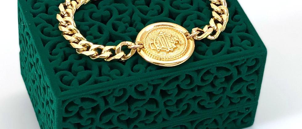 Repurposed Vintage Christian Dior Monogram Coin Bracelet