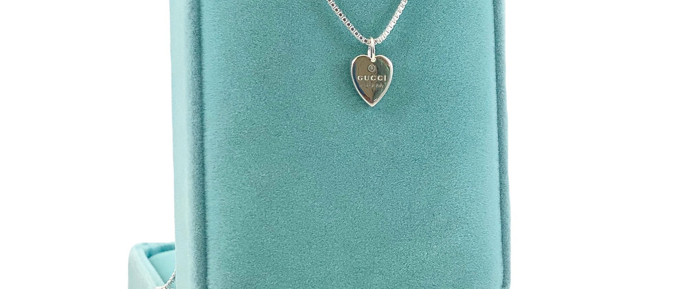 Repurposed Gucci Sterling Silver Heart Charm Necklace